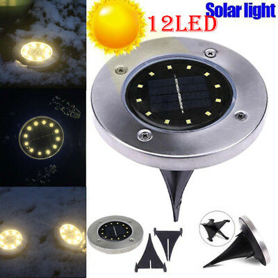 12LED Solar Power Buried Light Ground Lamp Outdoor Path Way Garden Fence Decking