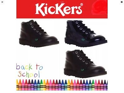 Rrp £89 Mens Kickers Kick Hi Core Black Leather Boots Size 12 Uk 46 Eu New Boxed