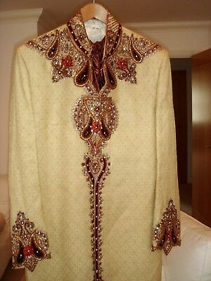 Men's Indian Sherwani suit in cream and burgundy red. Size 42 inch, 4pce