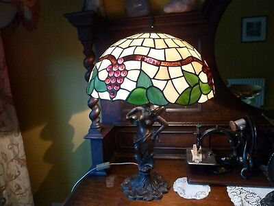 Antique Vintage Large Tiffany Style Lamp Light Bronze Statue Leaded Glass Old