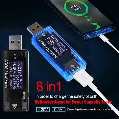AU!! 8 in 1 3.0 4-30V Electrical Power USB Capacity Voltage Tester Current Meter