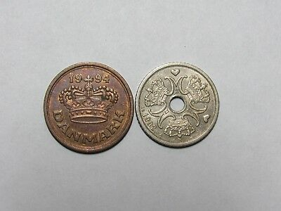 Lot of 2 Different Current Denmark Coins - 1992 and 1994 - Circulated