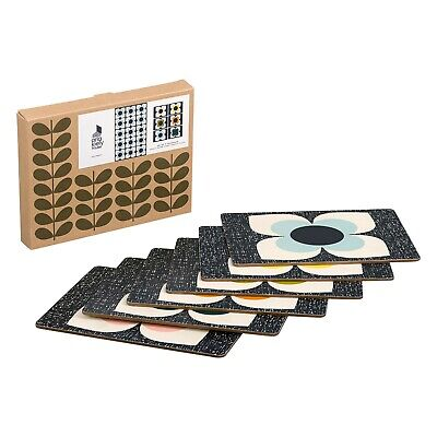 Orla Kiely Set of 6 Placemats or Coaster Scribble Square Flower