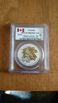 2014 $5 Canada Silver Maple Leaf Gold Gilt Pcgs Pf69 Dcam Reverse Proof 1 Oz