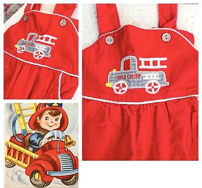 Vintage Boys Red Fire Truck Overalls 12 Mo Approx TLC