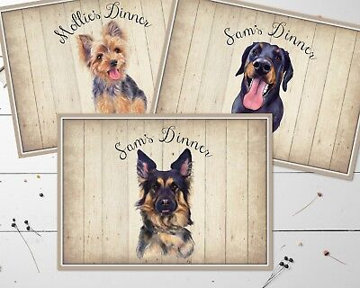 Personalised Wipe Clean Small Laminated Dog Food Place Mat A4 - Choose Dog Breed