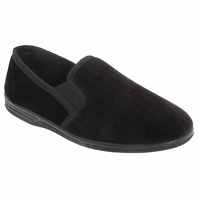 Zedzzz Mens Richard Striped Twin Gusset Velour Slippers (DF835)