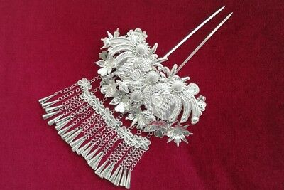 Chinese Ethnic Handmade Miao Silver Hair accessories tassel Step shake Hairpin