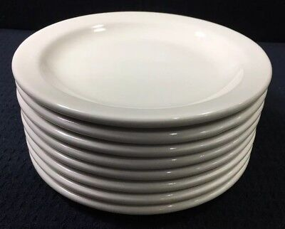 """Set of 8 Buffalo China 5 5/8"""" Restaurant Ware Plates Off White Beige Preowned"""