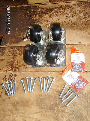 "set of (4) new 3"" hard rubber locking castor / dolly wheels w/ hardware"