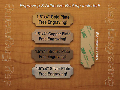Custom Engraved 1.5 x 4 Brushed Metal Tag Sign Plate Personalized Trophy Plaque