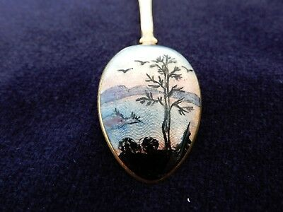"Sterling Silver & hand enamel ""Hestenes, Norway"" Picture spoon, from old estate."