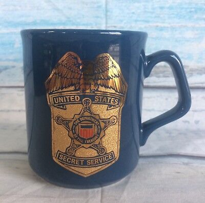 US SECRET SERVICE Coffee Mug Tea Cup Blue Gold Crest Treasury Department Vtg