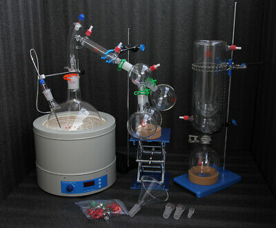 Glass Short Path Distillation Kit With Cold Trap,Magnetic Heating Mantle 5L 220V