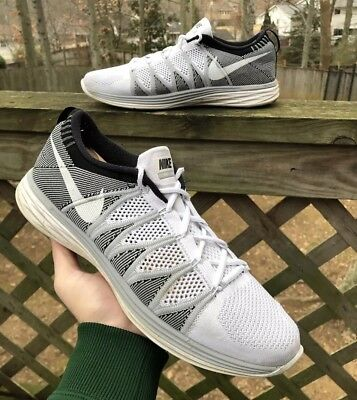 5586fde45239 Nike Flyknit Lunar 2 620465-100 White Grey Yeknit Trainer Mens Size 12 Rare  Air