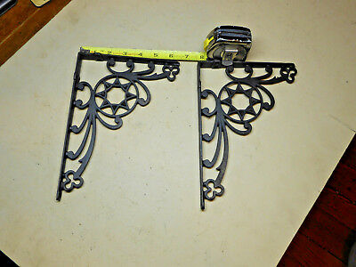 Pair Of Vintage Antique Cast Iron Shelf Wall Brackets Star & Clover Design