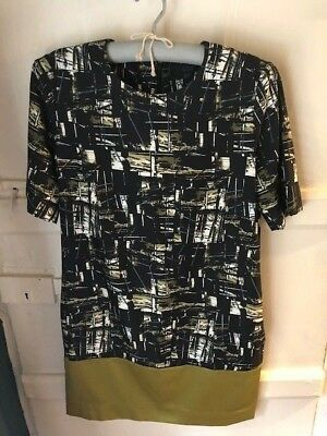 Cos Ladies Dress Black, chartreuse & white pattern with panel to hem UK10