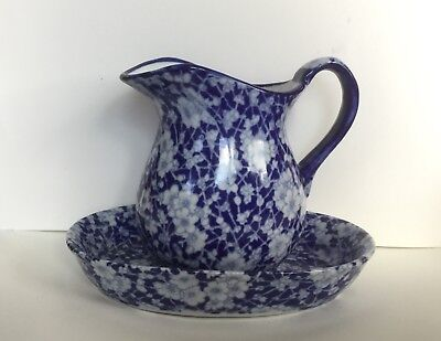 Antique Ironstone Victoria Ware Pitcher & Tray Calico Blue Excellent Condition