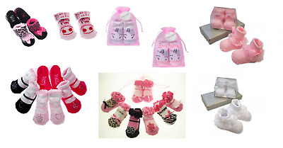 Newborn Baby Girls Gorgeous Ankle Socks Frilly Cute Pink Gift Bag 0-3 Months