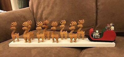 All Wooden Rudolph & His Reindeer Friends Attached To Santa'S Sleigh With Gifts