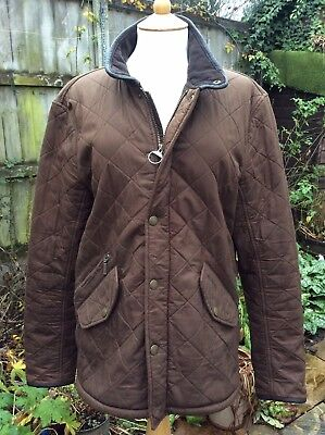 Mens Barbour Chelsea Polarquilt Brown Quilted Jacket Coat Leather Trim Small