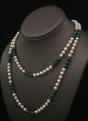 """CERTIFIED $2,500 FreshWater Pearl & Malachite 6.5 Mm 14Kt 36.75"""" Necklace 11762"""