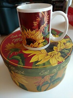 Sunflower Mugs, Set of 4, in Box (Cracker Barrel)