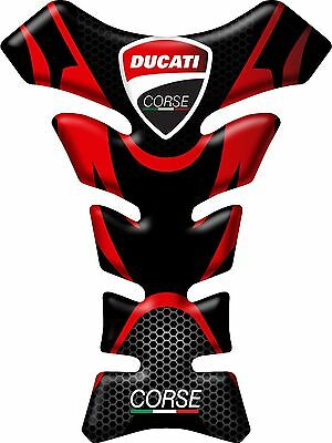 Motorcycle Tank Pad Protector Sticker | (Ducati) Corse Black & Red