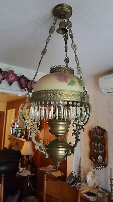 Antique Brass Hanging Oil Kerosene Lamp Chandelier - John Scott England