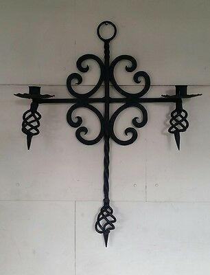 VTG Gothic Arts & Crafts Wrought Iron Cross Candle Sconce Holder Hand Made