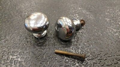 """2 Vintage Small 1 1/4"""" Knobs Drawer Pulls Antique Brass Chrome Plated - 10/18"""