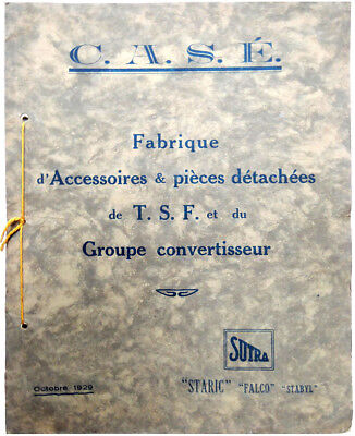1929 Catalogue CASE fabrique de TSF SUTRA STARIC FALCO STABYL 20 pages