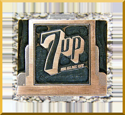 7 Up Copper Electroplated - Letterpress Printer's Block - Rare / Unusual Item