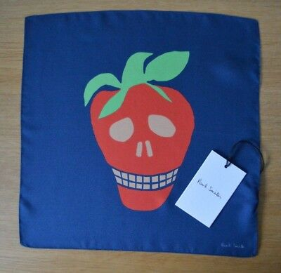PAUL SMITH Mens blue Strawberry SKULL suit 100% silk pocket square handkerchief