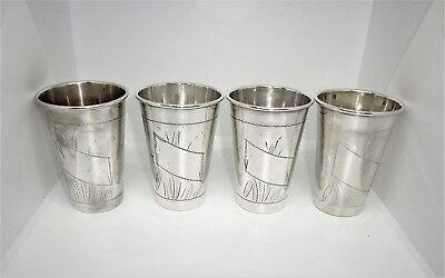 4 Matching Antique Silver Kiddush Cups, Beakers, Polish