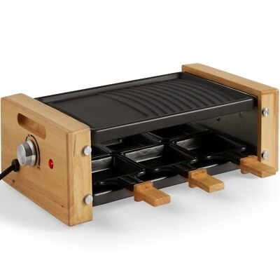 Raclette Grill, Large 6 Person Set Hot Plate Griddle & Pans, Cheese, Meat, Veg