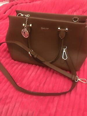 Genuine DKNY Brown Leather Shoulder bag with Long Strap, NEW