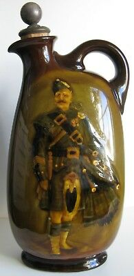 Royal Doulton Kingsware Pipe Major Dewars Whisky Flask + original Stopper