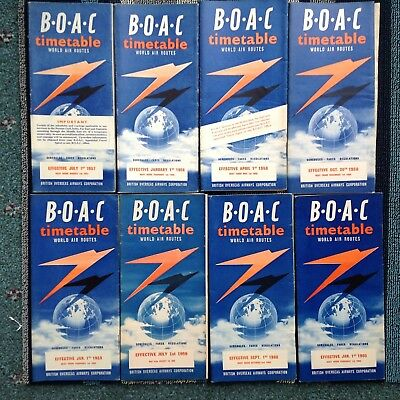 1957-1960 (8) B.O.A.C. British Oversees Airways TIMETABLES VGC BOAC