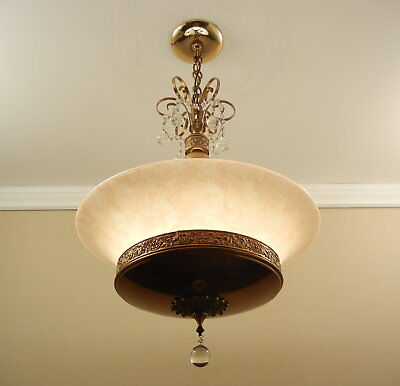 Vintage 1930s 1940s Antique GILL GLASS Chandelier Pendant Light Ceiling Fixture