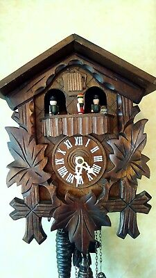 Old Vintage Three Weight Wooden Musical Cuckoo Clock
