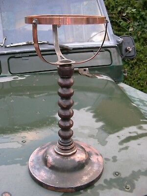 Jacobean Copper & Oak Table Stand For Tilley Ml93 Kerosene Pressure Oil Lamp