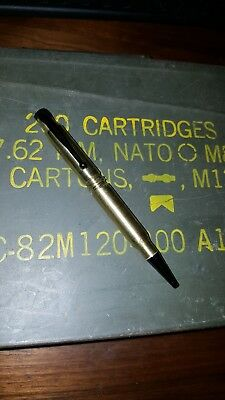 Bullet Pen made from two 308's Black tip and clip.