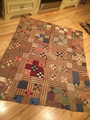 "Lovely Vintage Handmade PATCHWORK Quilt Very Old SEWN BY HAND 66"" BY 82"" BROWNS"