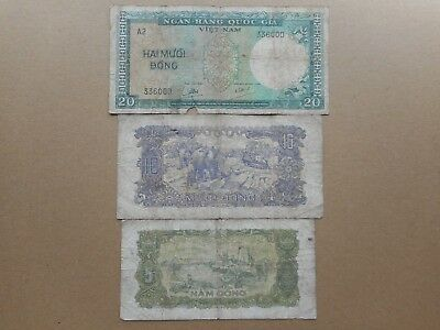 Vietnam (South Vietnam) 5,10,20 Dong 1964,1976 (Lot of 3 Banknotes)