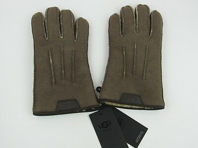 Ugg Men's Casual Gloves With Leather Logo Slate Curly Nwt Size Medium 1090073