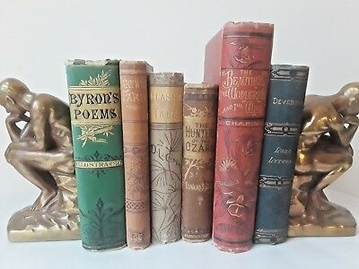 Antique! Lot of Six Victorian Decorative Books ~ Assorted Titles NR