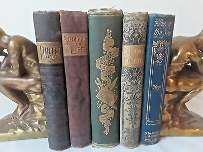 Antique! Lot of Five Victorian Decorative Books ~ Assorted Titles NR