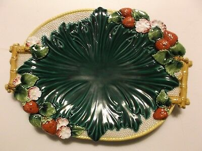 Vintage Majolica Serving Dish decorated with Strawberries, Flowers, Foliage