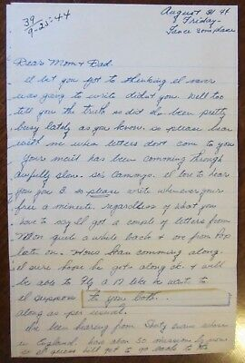 2 WWII letters Omaha Beach D-Day 1st Div, Won 2 Purple Hearts shot after letter